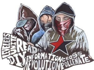 ANARCHIST ART - ( LEVELERS UNITE - ECONOMICS ANTI- CAPITALISM - SOCIAL REVOLUTION) -SHARE - USE -