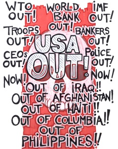ANARCHIST ART - ( USA OUT NOW SOLIDARITY ANTI- WAR POSTER) -SHARE - USE - DIY - HiRes